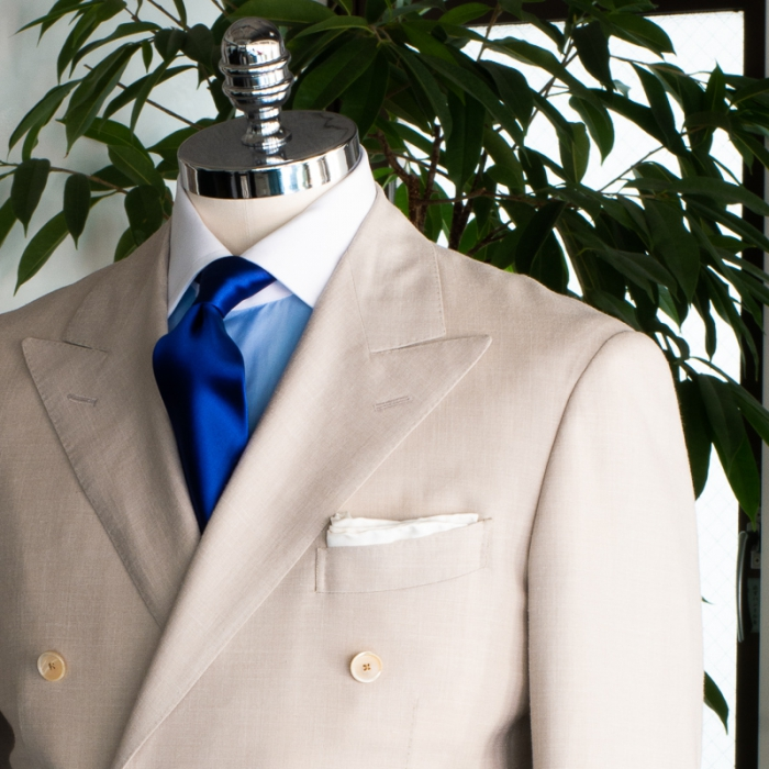 Off white wool silk linen suit
