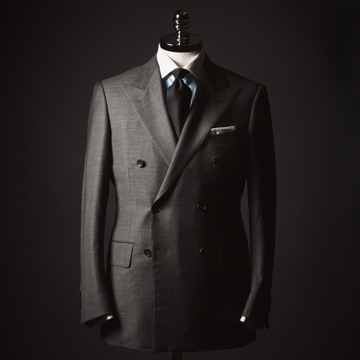 Gray sharkskin double breasted suit