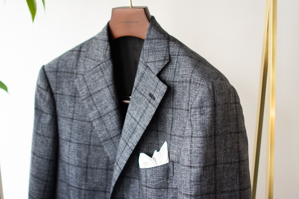 Jacket Wool silk gray windowpane