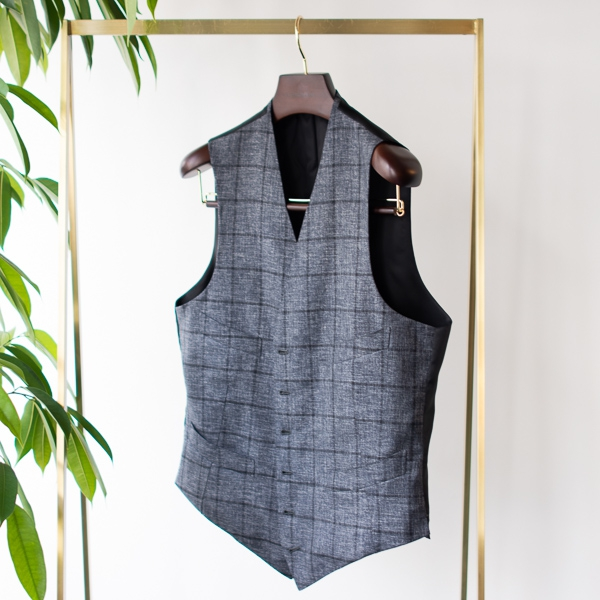 Vest Wool silk gray windowpane