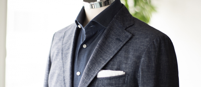 Jacket Navy wool silk houndstooth